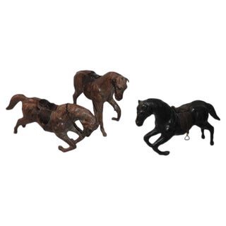 Collection of Three Leather Handmade Horses