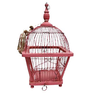 1960s French Pink Canary Cage