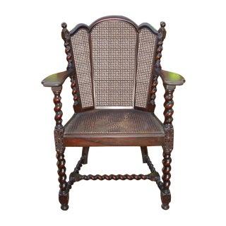 Antique Victorian Jacobean Barley Twist Cane Chair