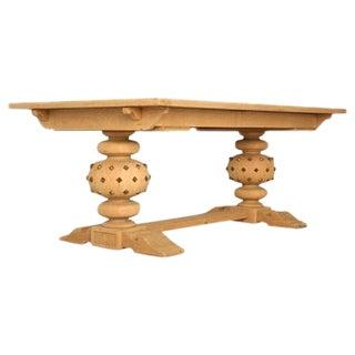 Vintage French White Oak Trestle Table