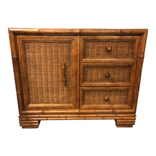 American of Martinsville Bamboo Nightstand Side Table with Door and Drawers