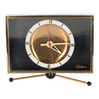 Sophisticated Mid-Century Modernist Brass Clock on Pedestal by Telechron