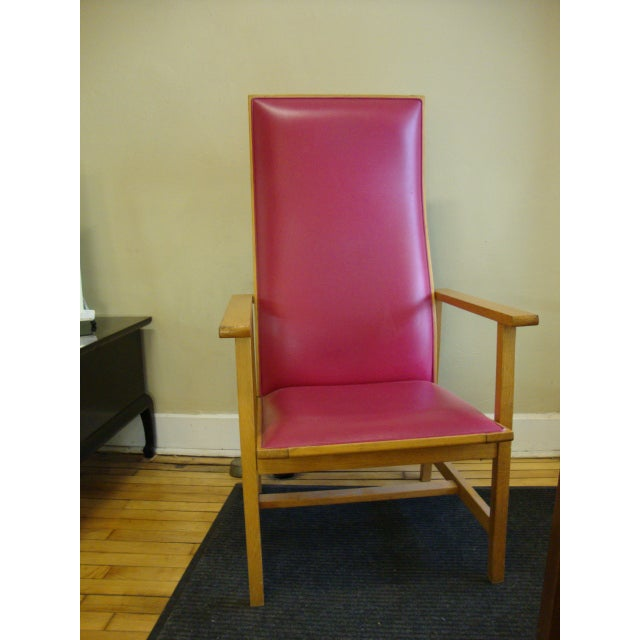 Mid-Century High Back Maple Armchair - Image 3 of 8