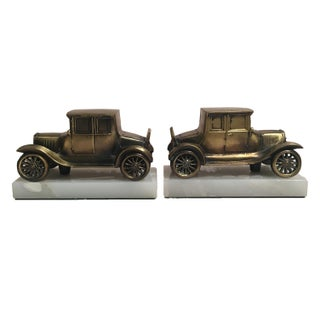 Vintage Brass Car on Marble Bookends - A Pair