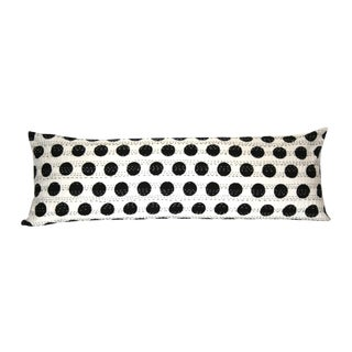 Black Kantha Polka Dot Pillow