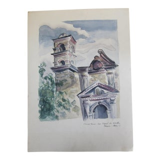 Vintage Watercolor Painting of Mexican Church