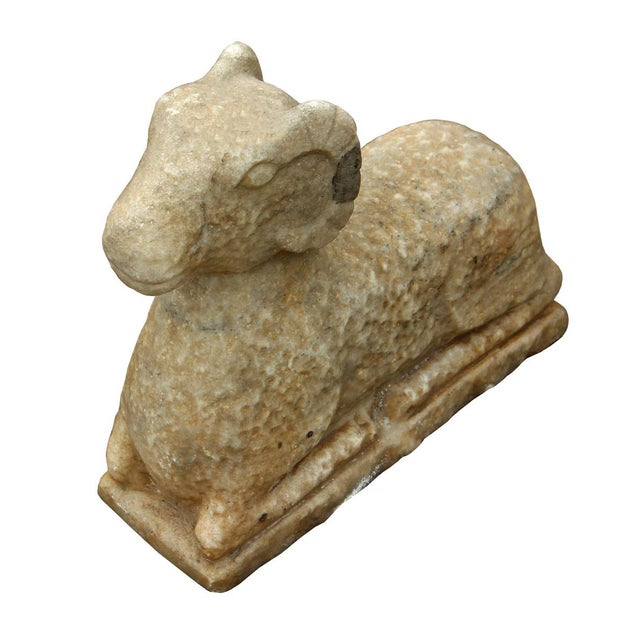Image of Chinese Vintage Crouching Ram Stone Statue