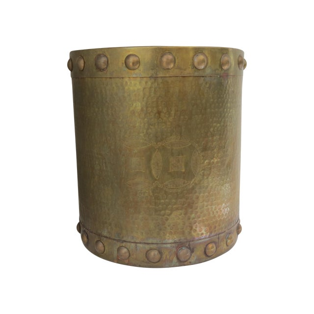 Brass Drum-Style Cachepot - Image 1 of 8