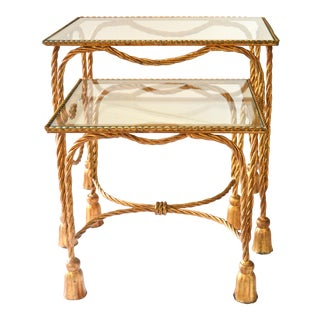 1950's Italian Gilt Rope & Tassel Nesting Tables - A Pair