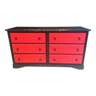 Black & Red Solid Oak Dresser