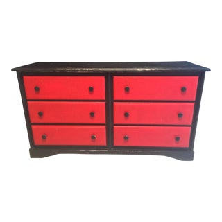 Black & Red Solid Oak Dresser