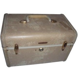 Mid-Century Samsonite Beige Vinyl Cosmetics Case