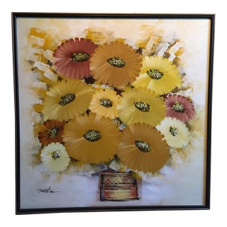 Mid-Century Signed Still Life Daisies in Basket Painting