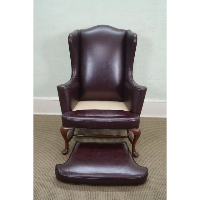 Oxblood Leather Wing Chairs - A Pair - Image 8 of 10