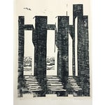 """Image of P. McGraw Abstract Woodblock Print """"Peace"""""""