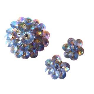 1960s  Sky Blue Rivoli Crystal Brooch & Earrings