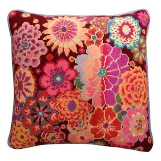 Needlepoint Floral Throw Pillow