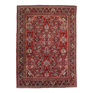 Vintage Hand Knotted Wool Persian Mahal Rug - 9′2″ × 13′