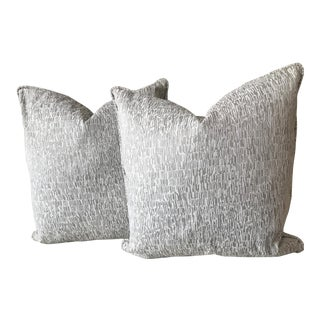Taupe & Cream Print Pillows - A Pair