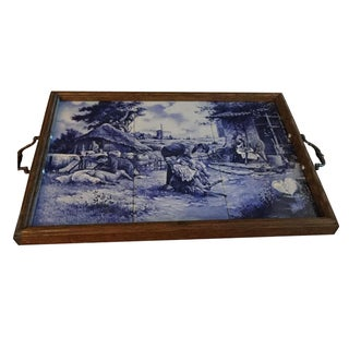 Dutch Handmade Blau Delft Tiled Tray