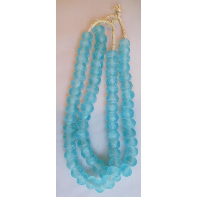Mediterranean Jumbo Azure Blue Glass Beads - a Pair - Image 5 of 7