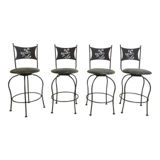Scrolled Metal Coffee House Counter Bar Dining Room Stools - Set of 4