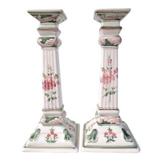 Hand-Painted Floral Candle Holders - A Pair