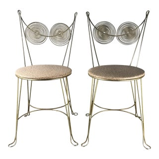 Tony Paul for Rubel Mid-Century 1950's Spiral Back Cafe Chairs - a Pair