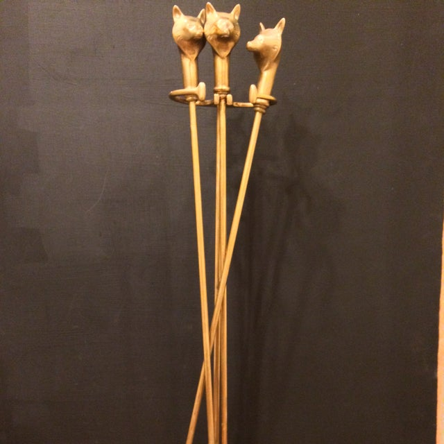 Image of Equestrian Style Fox Brass Fireplace Tools