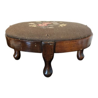 Antique Needlepoint Walnut Footstool