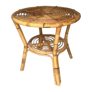 Albini-Style Bentwood Bamboo Side Table