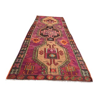 "Vintage Turkish Kilim Rug - 5'1"" X 13'7"""
