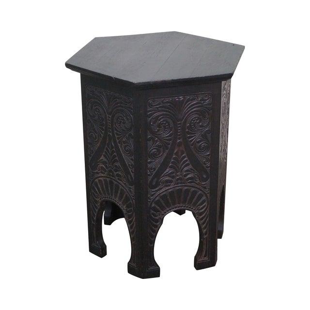 Antique Incised Carved Oak Taboret Side Table - Image 1 of 10