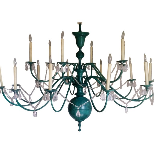 Green Copper Chandelier With Crystal Accents - Image 1 of 8