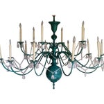 Image of Green Copper Chandelier With Crystal Accents