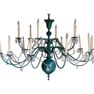 Green Copper Chandelier With Crystal Accents