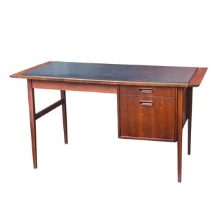 Danish Modern Slate-Topped Teak Desk