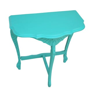 Vintage Demilune Turquoise Painted Table