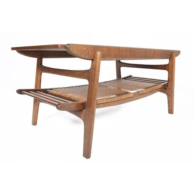Teak Oak Surfboard Coffee Table With Rack Chairish