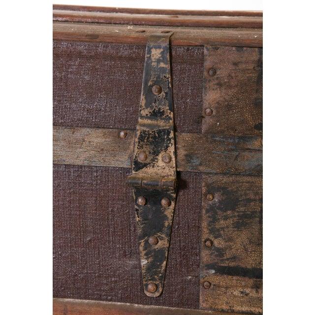 Victorian Wood & Metal Flat Top Brown Steamer Trunk - Image 6 of 11