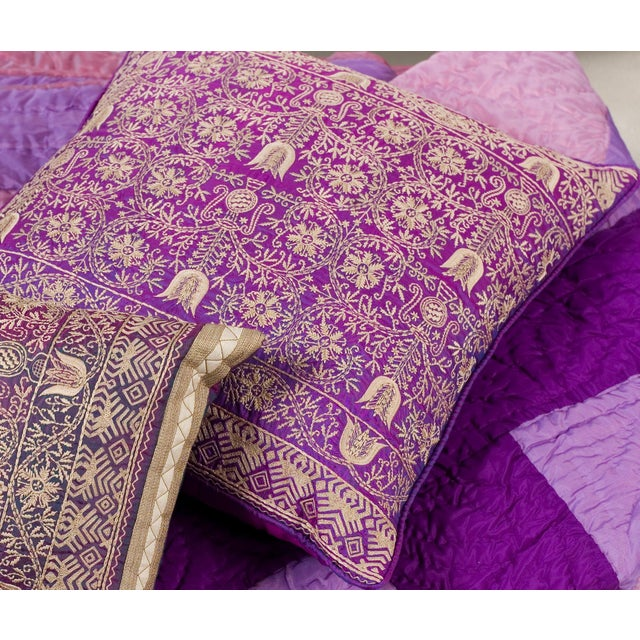 Purple Silk Throw Pillows : Luxury Purple Silk Emroidered Decorative Pillow Chairish