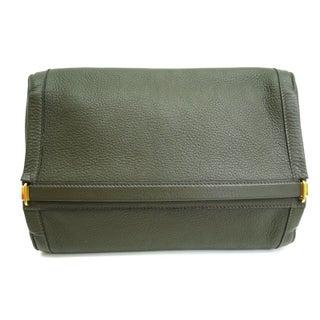 Hermes Togo Leather Khaki Clutch