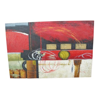 Abstract Expressionist Geometric Oil on Canvas Painting