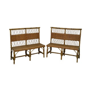 Antique Split Reed Rattan Bamboo Frame Benches Settees - A Pair