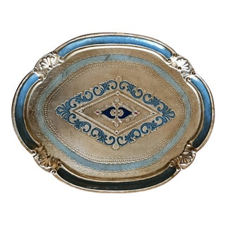 Italian Florentine Silver Gilt and Blue Tray