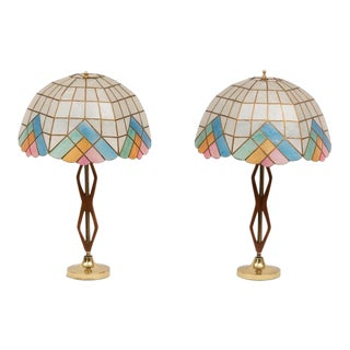Mid-Century Teak Lamps with Brass & Shades - Pair