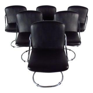 Modern Chrome & Vinyl Dining Chairs - Set of 6