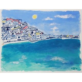 Greek Island Beach Impressionist Seascape by Cleo