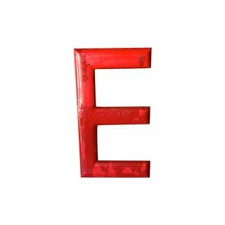 3' Red Porcelain Enamel Vintage Letter E