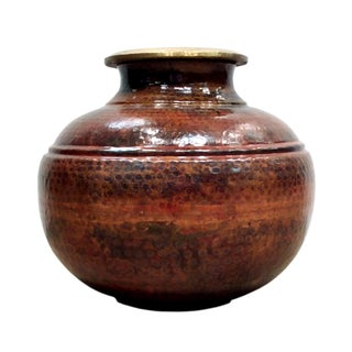 "Pasargad's Hand-Forged 13"" Copper Vase"